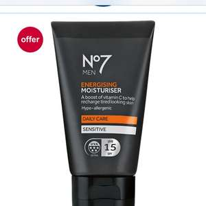No7 energising men's moisturiser normally £9 but down to £4 for no7 daily deals Plus 3 for 2