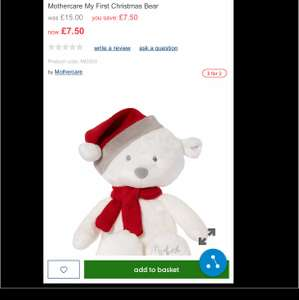 Mothercare my first Christmas bear Half Price + 3 for 2 FREE c&c