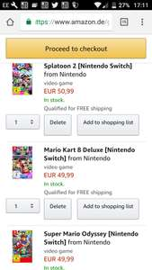 3 for 2 on Switch Games German Amazon site