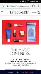 Free Estee Lauder 6 peice gift set with orders over £30 PLUS 15% for new customers & 2 free testers, (free delivery) @ Estee Lauder