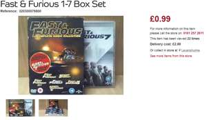 Fast & Furious 1-7 Boxset 99p @ CashConverters (£3.98 Delivered)
