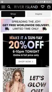 20% off at River lsland until 10pm tonight.