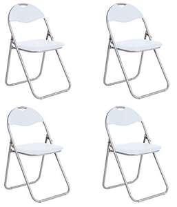 Office Essentials Padded Folding Chair, Leather Effect, White - Pack of 4 £17.99 Prime @ Amazon