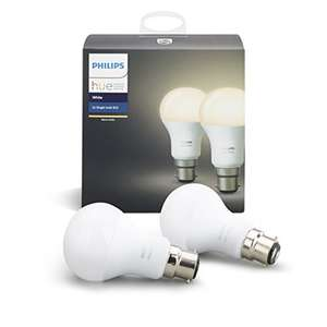 Philips Hue White Personal Wireless Lighting LED B22 Twin Pack £19.99 @ Amazon