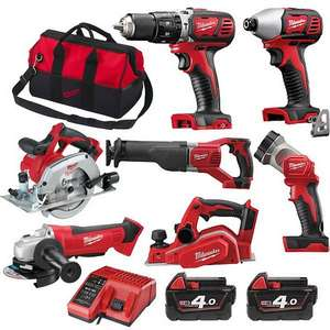 Milwaukee M18BPP7A-402B 18V 7-Piece Power Tool Kit + 2x 4ah Batteries, Charger & Bag£664.96 @ Anglia Tool Centre