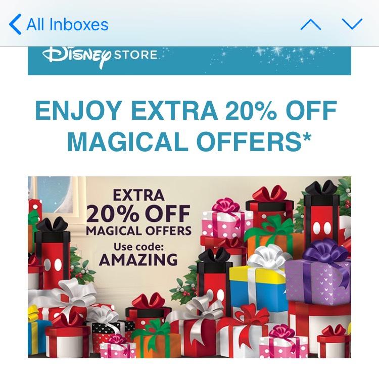 Disney Store Extra 20% off