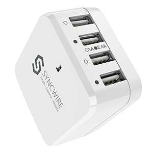 Syncwire 4-Port USB Wall Charger with Interchangeable UK EU US Travel Adaptor DOTD @ Amazon (£9.43 Prime)