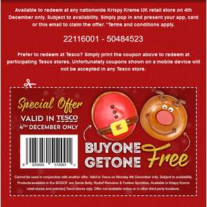 Christmas Doughnuts! Buy one get one FREE! Today only! (voucher needed - Refer the post to find the voucher. To redeem in tesco you need the print out of the voucher)