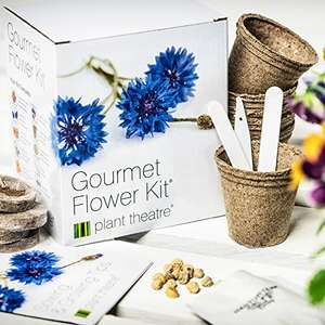 Plant Theatre Gourmet Flower Kit 6-Edible Flower Varieties to Grow - £6.39 Prime (£9.38 non Prime) Sold & Fulfilled by Amazon