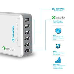 Quick USB Charger, TeckNet [Qualcomm Certified] 51W 6 Ports QC 2.0 Desktop USB Charging Station Wall Charger With BLUETEK Smart Charging For Apple iPhone, iPad, iPad Air, iPad Mini, iPad Pro, Samsung Galaxy, HuaWei, Nexus, LG and More - £8.99 (Prime)