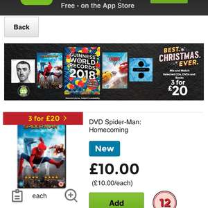 Asda 3 for £20 now on on CD's, Books and DVD's