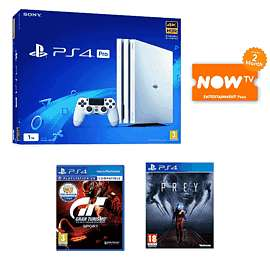 Glacier White PlayStation 4 Pro 1TB + Gran Turismo Sport + Prey + NOW TV 2 Months Entertainment Pass £299.99 @ Game