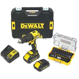 DeWalt DCD778L2T-SFGB 18V 3.0Ah Li-Ion XR Brushless Cordless Combi Drill - With 2 Batteries and FREE 32 Piece DeWalt Screwdriver bit set - £149.99 @ Screwfix