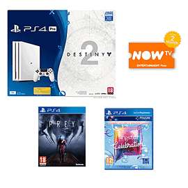 PS4 Pro 1TB White + Destiny 2 with Expansion Pass Bundle + Prey + Singstar + 2 Months Now TV Ent. Pass £299.99 @ Game