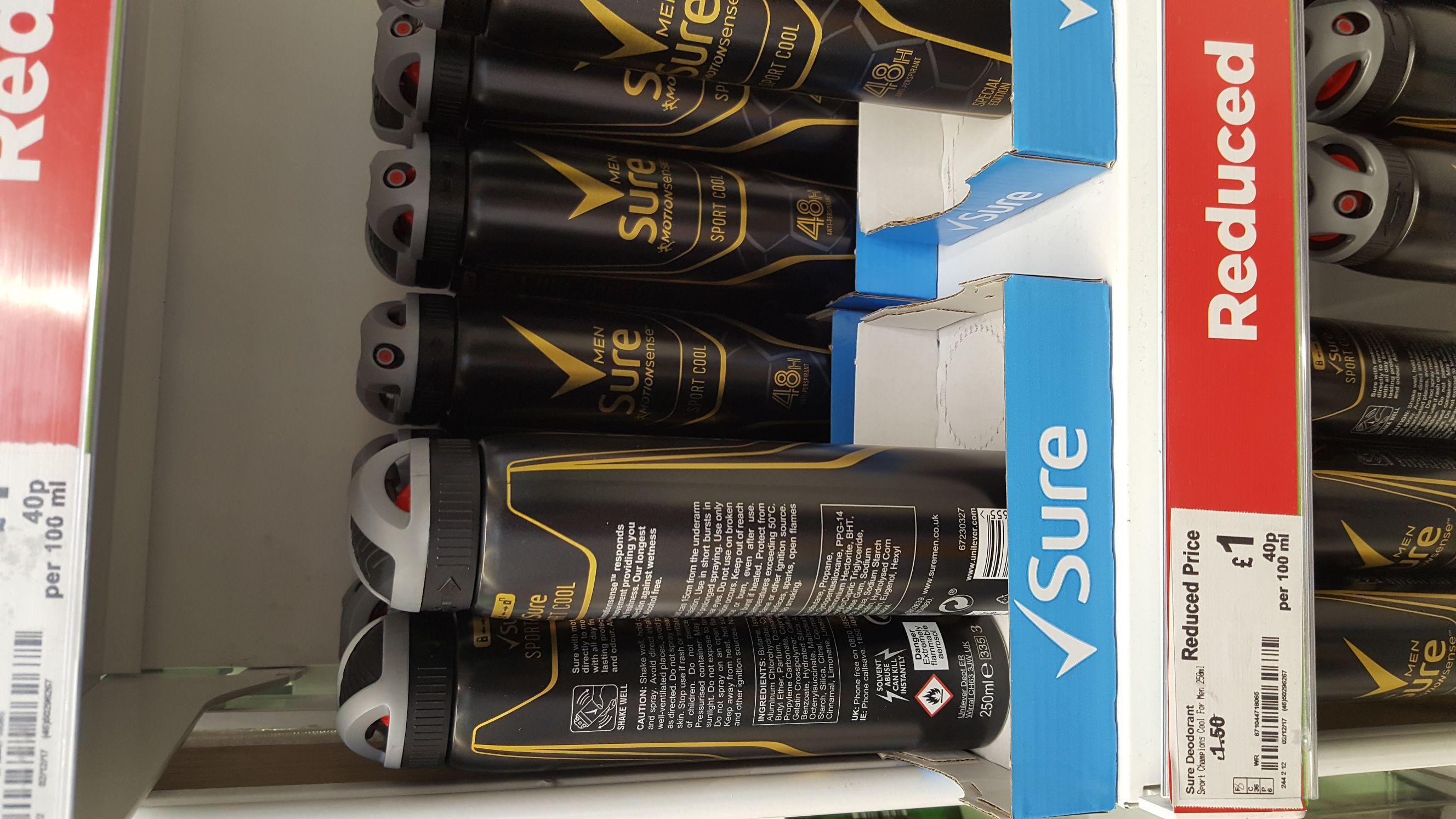 Sure sport mens deodorant 250ml £1 instore @ Asda