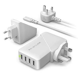 USB Charger Plug RAVPower 4-Port 40W / 8A Travel Adaptor (EU and UK Adapter Interchangeable £9.99 Prime / £13.98 non Prime Sold by Sunvalleytek-UK and Fulfilled by Amazon
