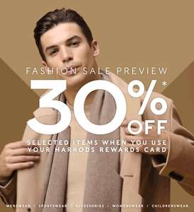 30% OFF from FRIDAY 8/12 (online) and 9/12 (In-store) @Harrods