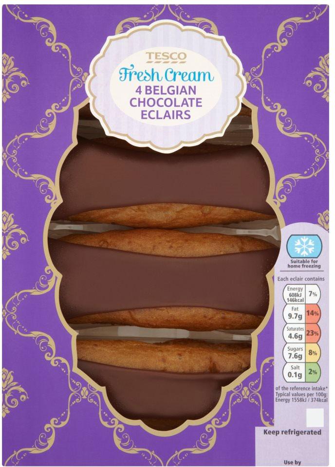 Tesco Fresh Cream Chocolate Eclairs (4) was £1.60 now £1.00 @ Tesco