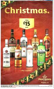 Spirits 1L - £15 - Inc. Vodka, Bacardi, Whisky, Gin, Rum - Details in Description - In Store Only MORRISONS