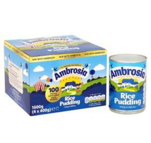 Four tins ambrosia rice pudding £2 instore at Poundworld (works out 50p a tin)