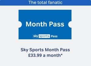 Sky sports full package £10 per month (1st month £33.99) if split with friend or family read on no contract normally £33.99 save up to £23.99 @ Now TV