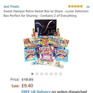 Retro sweets hamper - Sold by Chocolate Buttons / Fulfilled by Amazon - £9.40 Prime / £14.15 non-Prime