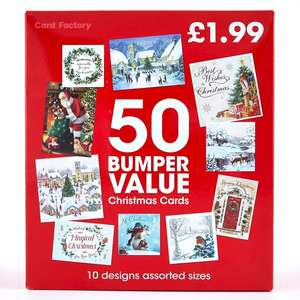Bumper Pack of 50 Christmas Cards - 10 Designs A Christmas card for everyone! £1.99 + £2.99 delivery at cardfactory