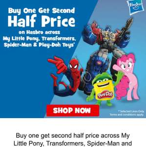 Buy one get second half price across My Little Pony, Transformers, Spider-Man and Play-Doh Toys!