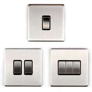 Area 1 2 3 Gang Wall Light Switch switches Brushed Chrome Finish Screw-less - £3.49 @ area_store eBay