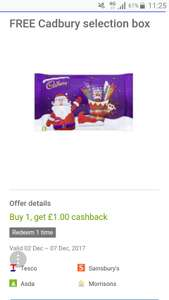 Free £1 Cadbury selection box with Quidco Clicksnap - instore @ Supermarkets