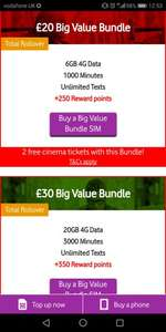 Claim 2 free Odeon or Vue Cinema Tickets when purchasing eligible Pay as you go bundle with Vodafone