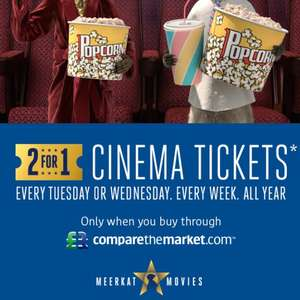 2 for 1 cinema ticket when you buy car insurance from Compare the Market