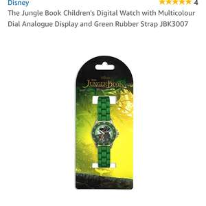 the Jungle Book Children's Digital Watch with Multicolour Dial Analogue Display and Green Rubber Strap JBK3007 £5.48 prime / £9.47 non prime @ Amazon
