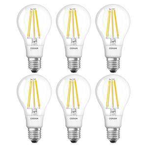 OSRAM LED Retrofit CLASSIC A / LED lamp, classic bulb shape: clear, Warm White, 2700 K, (6x1pack) - was £58.13 now £12.69 (Prime) / £17.44 non-Prime @ Amazon