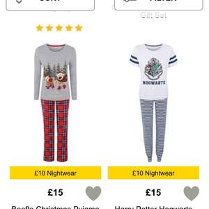 Selected ladies and men's Pyjamas £10 @ Asda