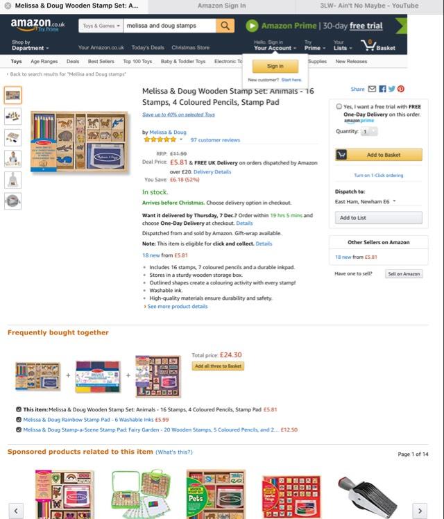 Melissa and Doug stamp set @ Amazon - £5.81 Prime / £10.56 non-Prime