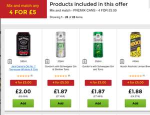 Any 4 Premix cans incl gin, vodka, jack d for a fiver @ Asda or Morrison's
