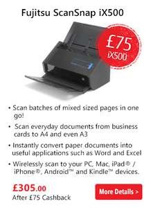 Cashback up to £75 on Fujitsu Scanners at box.co.uk