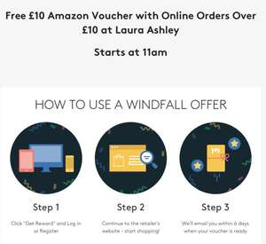 Voucher codes windfall Wednesday offer - spend over £10 at Laura Ashley and get £10 amazon e-gift voucher