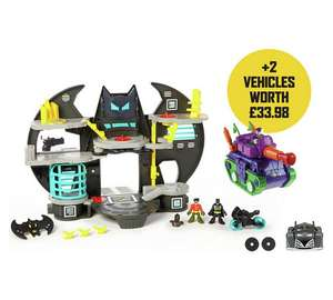 Imaginext batcave , batmobile car and joker tank set £35.99 Argos