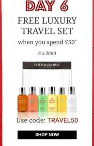 Molton Brown day 6 of 12 days of Christmas - FREE 6 X 30ml luxury travel set when you spent £50