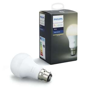 3x Philips Hue White 9.5W A60 Smart Bulb, B22 Fitting with 2 year guarantee £22.48 (£7.49 each bulb) (£2 C&C) Online & In store @ John Lewis