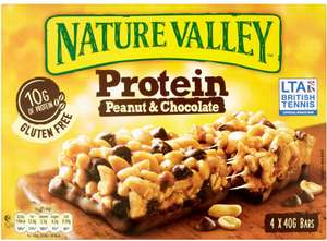 Nature Valley Protein Peanut and Chocolate Bars (4 x 40g) / Nature Valley Protein Salted Caramel Nut Bars (4 x 40g) / Nature Valley Coconut and Almond Protein Bar (4 x 40g) Half Price was £2.89 now £1.44 @ Tesco