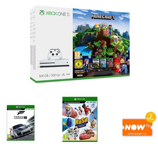 Microsoft Xbox One S Console 500GB Minecraft + 3M live + Forza Motorsport 7 + Pixar Rush + NOW TV £ 179.99  - GAME