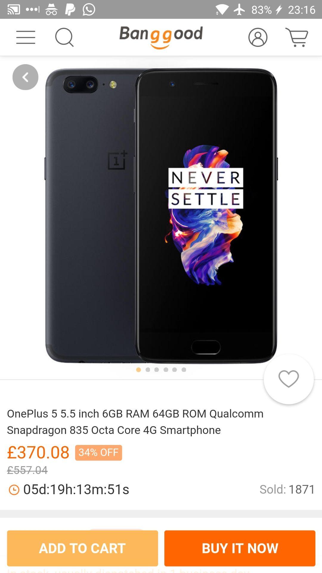 OnePlus 5 Smartphone  £370.08  at Banggood
