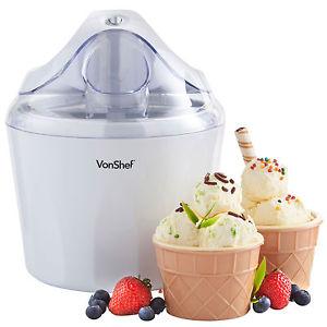 VonShef 1.5 Litre Ice Cream Maker, Frozen Yoghurt & Sorbet Machine now £16.99 delivered at eBay / Domu + 2 Year Guarantee