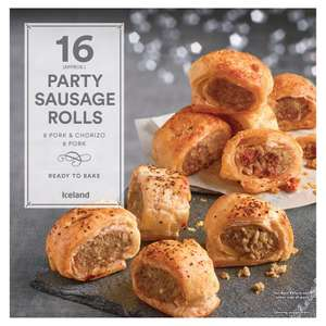 Iceland Party Sausage Rolls (16 per pack - 480g) One pack 1 for £3 or 2 for £5 (so almost a KILO in weight = 32 mini sausage rolls roughly 16p each) @ Iceland
