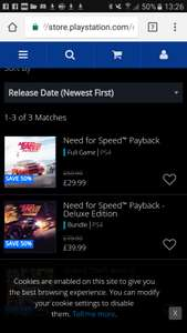 Need for speed payback (12 deals of xmas) £29.99 PSN