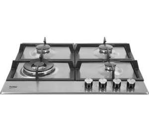 Beko HCMW64225SX  stainless steel 4 gas hob burner with cast iron supports