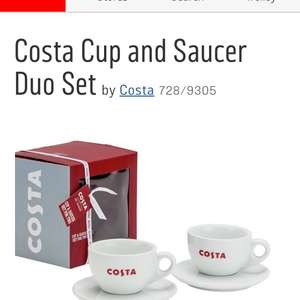 Costa coffee duo mug and saucer gift set £9.98 half price at Argos free click and collect